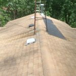 Mold & Mildew Stains and Shingles Missing on Upper Roof