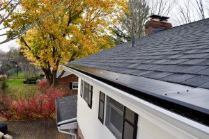 Dennison Exterior Solutions & Gutter Topper with New White Seamless Gutters & Downspouts with Black Gutter Topper
