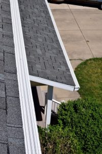Dennison Exterior Solutions & Gutter Topper:CertainTeed Independence Georgetown Gray Shingles with White Solution Gutter Covers